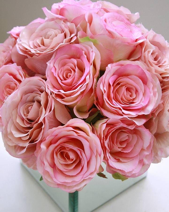 Pink Silk Flower Mirrored Cube