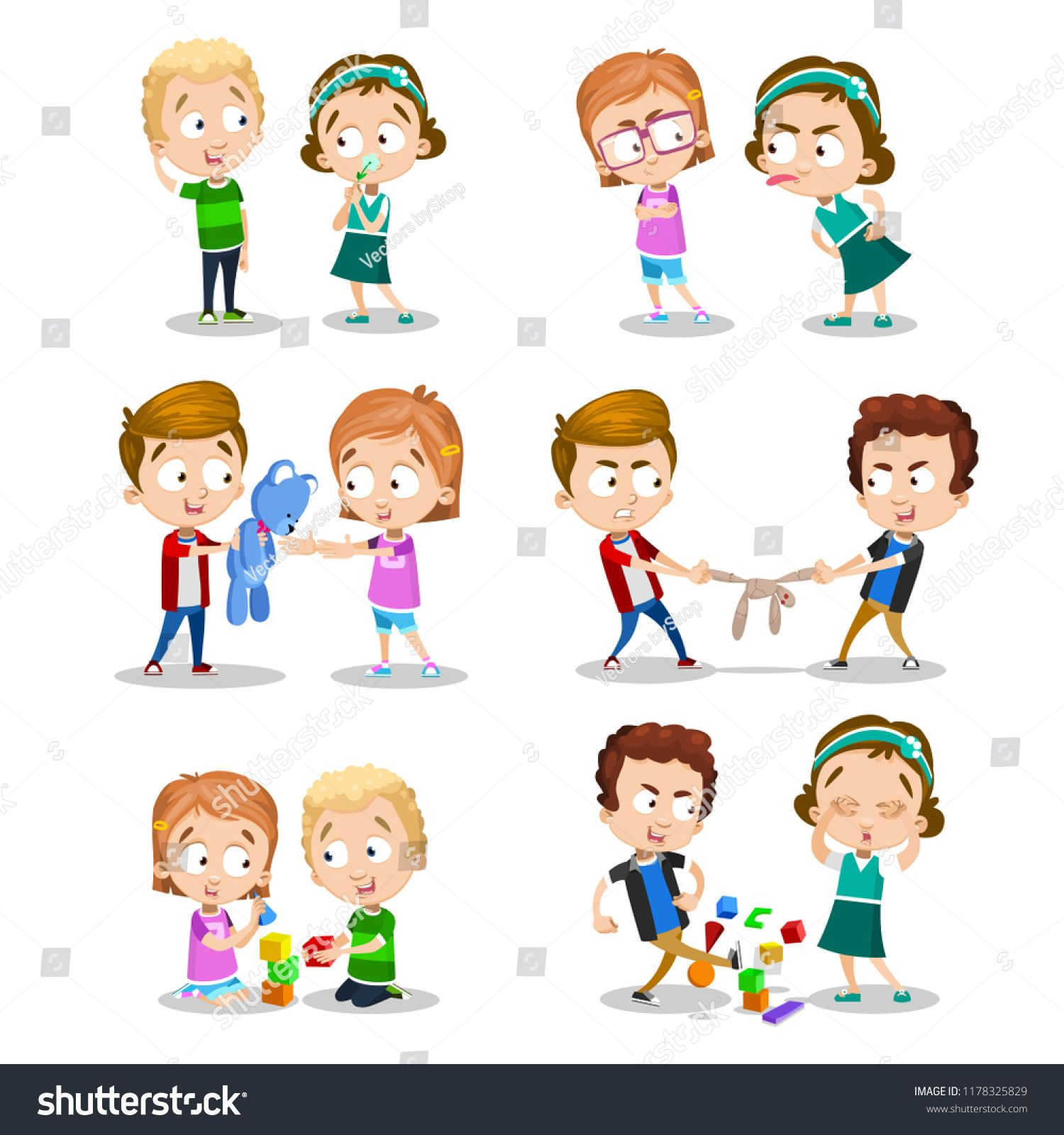 Funny Cartoon Images Of Boys good and bad behavior of a child. kids fighting over a toys