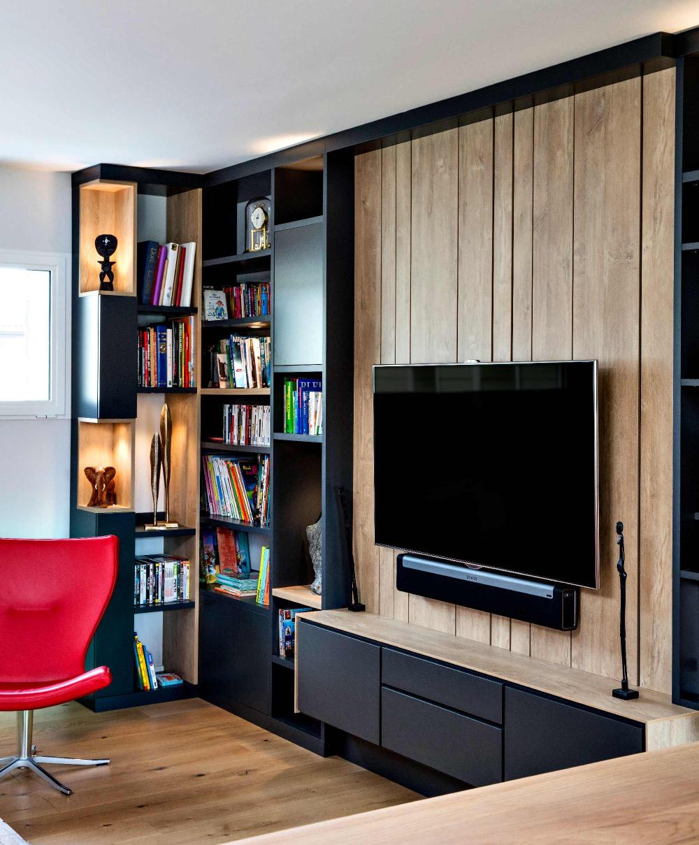 meuble tv sur mesure en lambris effet