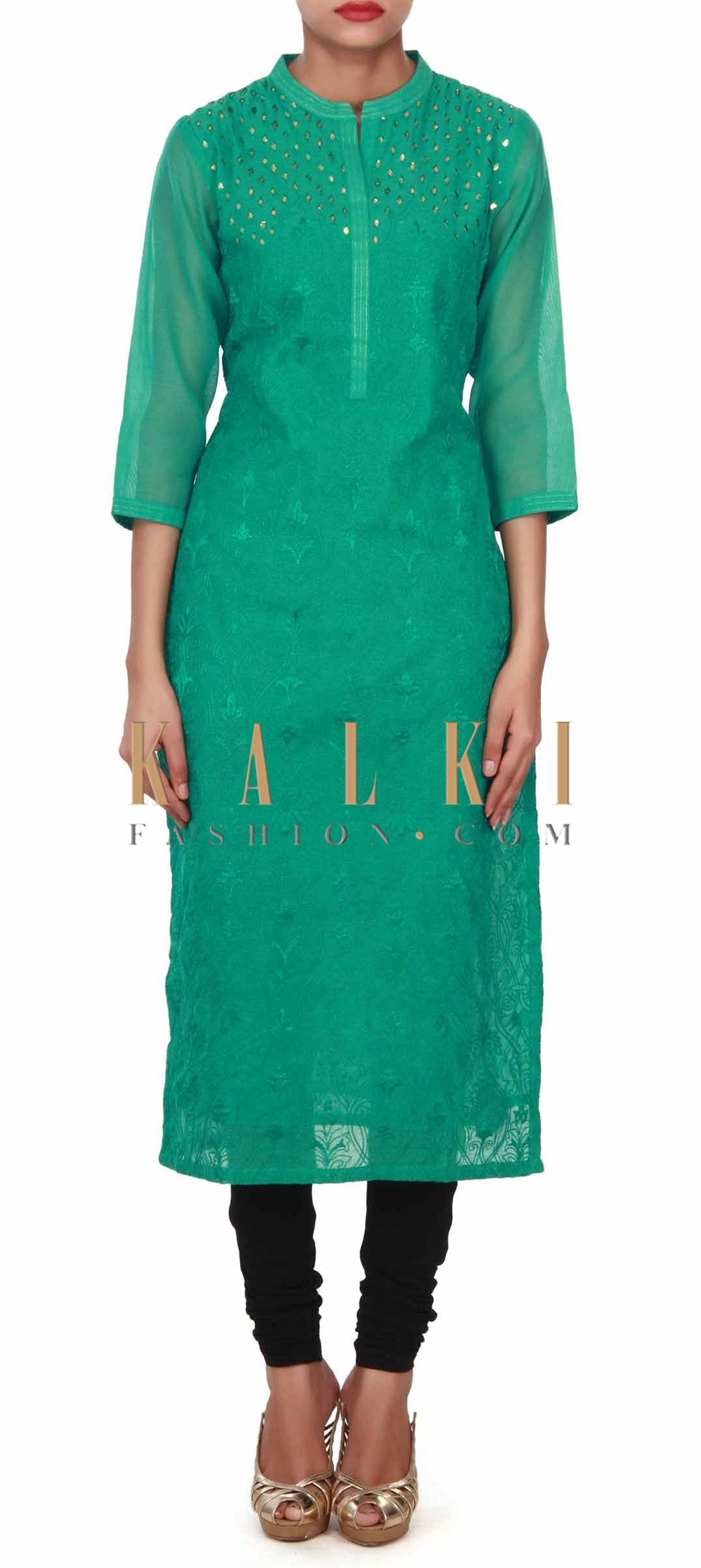 Casual dresses to wear to a wedding  Buy this Green kurti adorn in gotta patch work only on Kalki