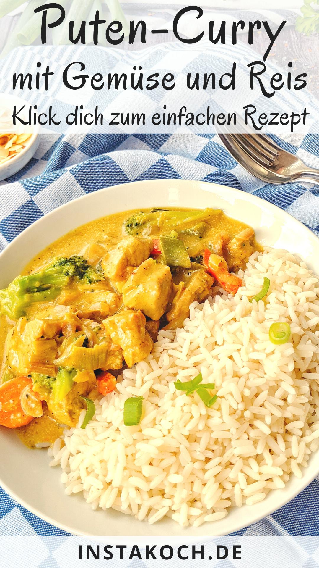 Puten-Curry mit Brokkoli, Mandeln und Reis - Klick
