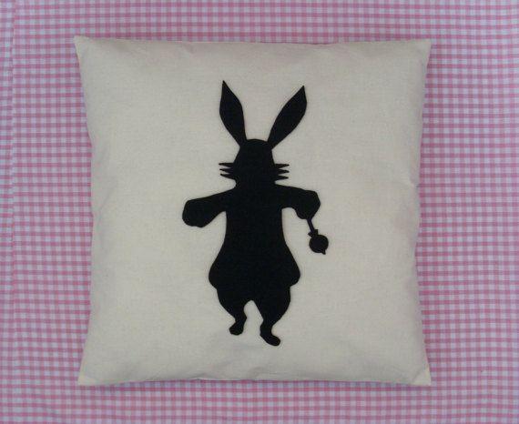 Rabbit  Cream & Black Alice In Wonderland Cushion by BeUniqueBaby
