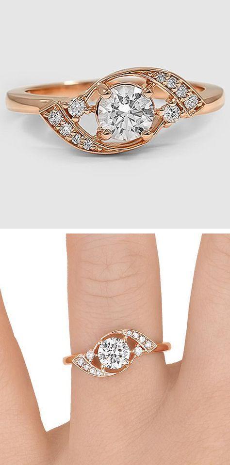 14K Rose Gold Iris Diamond Ring Diamond Ring and Jewelery