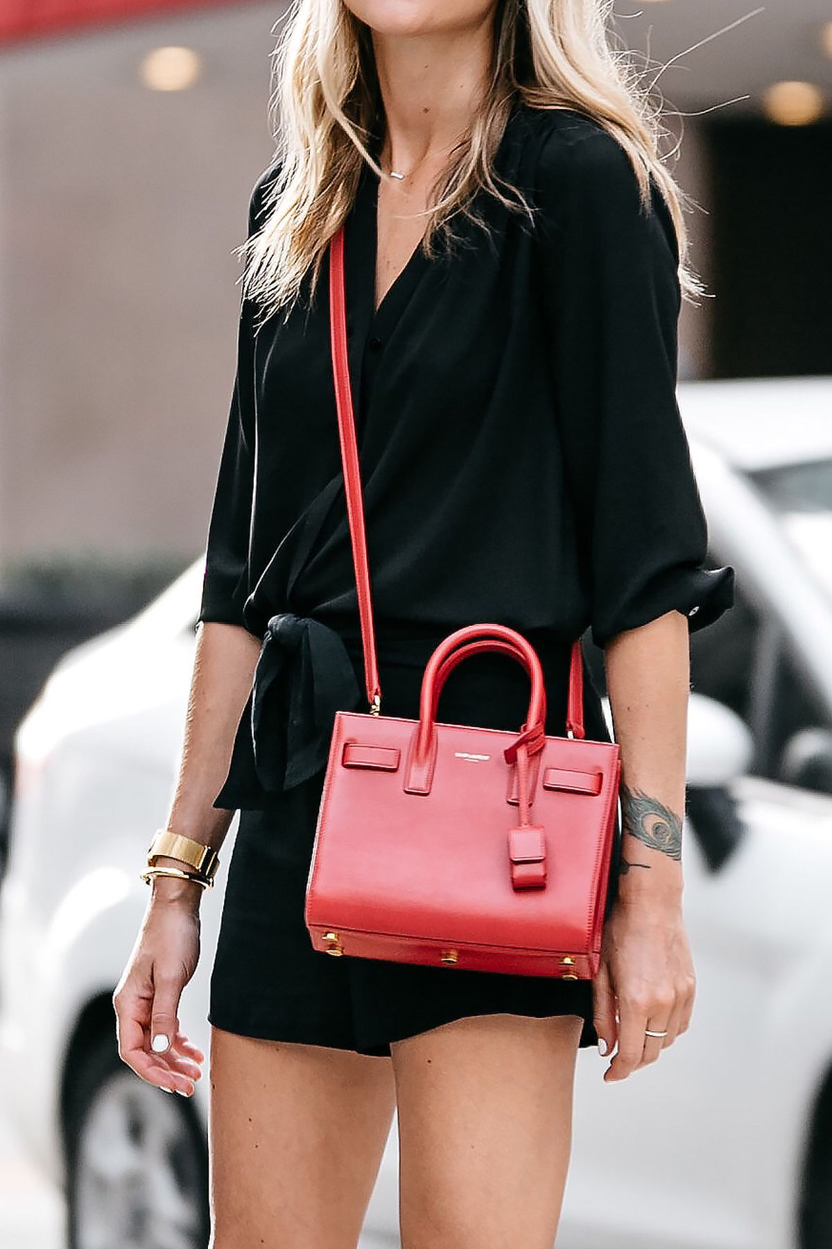 5f2c744bc3 Blonde Woman Wearing Nordstrom Black Blouse Nordstrom Black Tie Front  Shorts YSL Sac De Jour Nano Red Street Style Outfit Dallas Blogger Fashion  Blogger