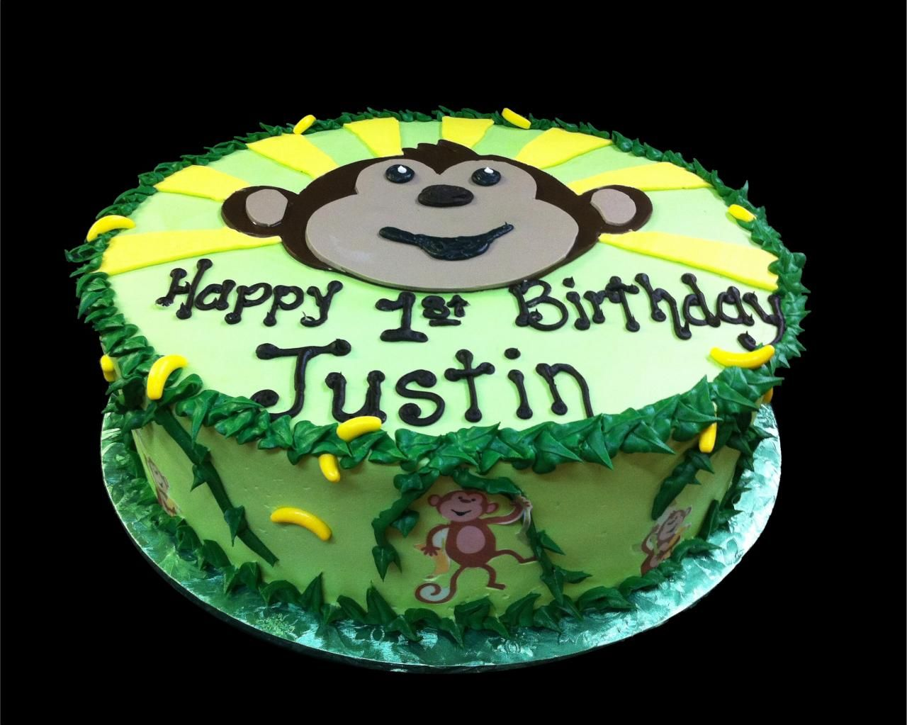 Monkey See Monkey Do 1st Birthday Cake, Green Buttercream