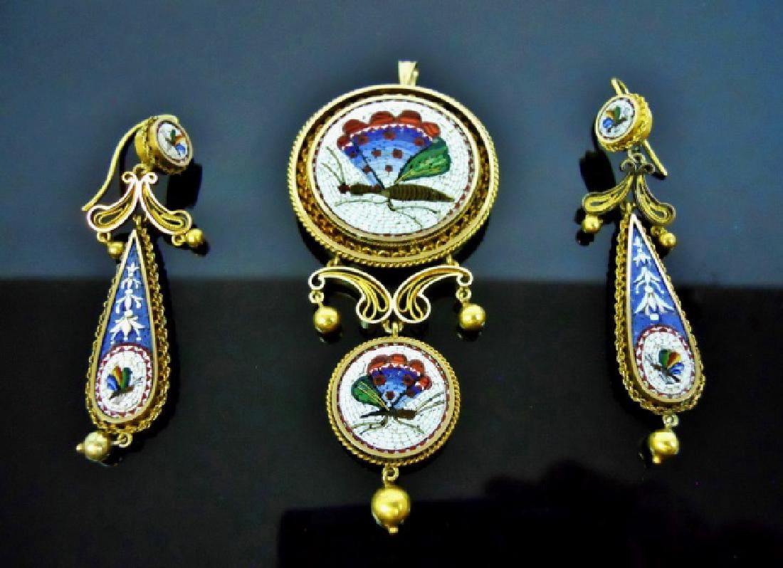18K GoId Italian Micro Mosaic Jewelry, (3pc) : Lot 0012