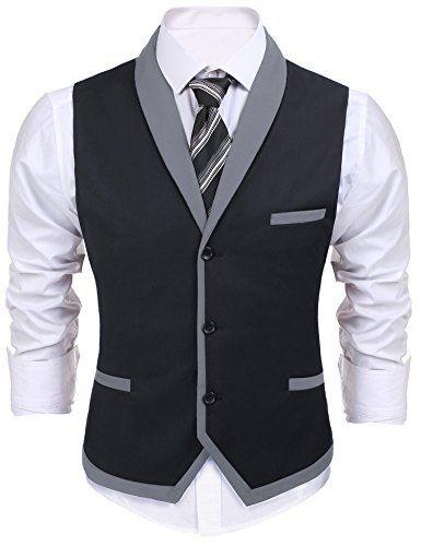 Coofandy Mens V-Neck Sleeveless Slim Fit Jacket Business Suit Vests