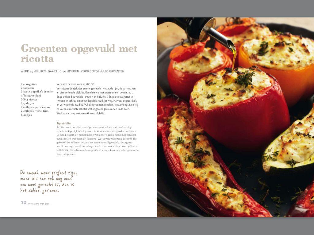Groenten opgevuld met ricotta. Recept Pascale Naessens