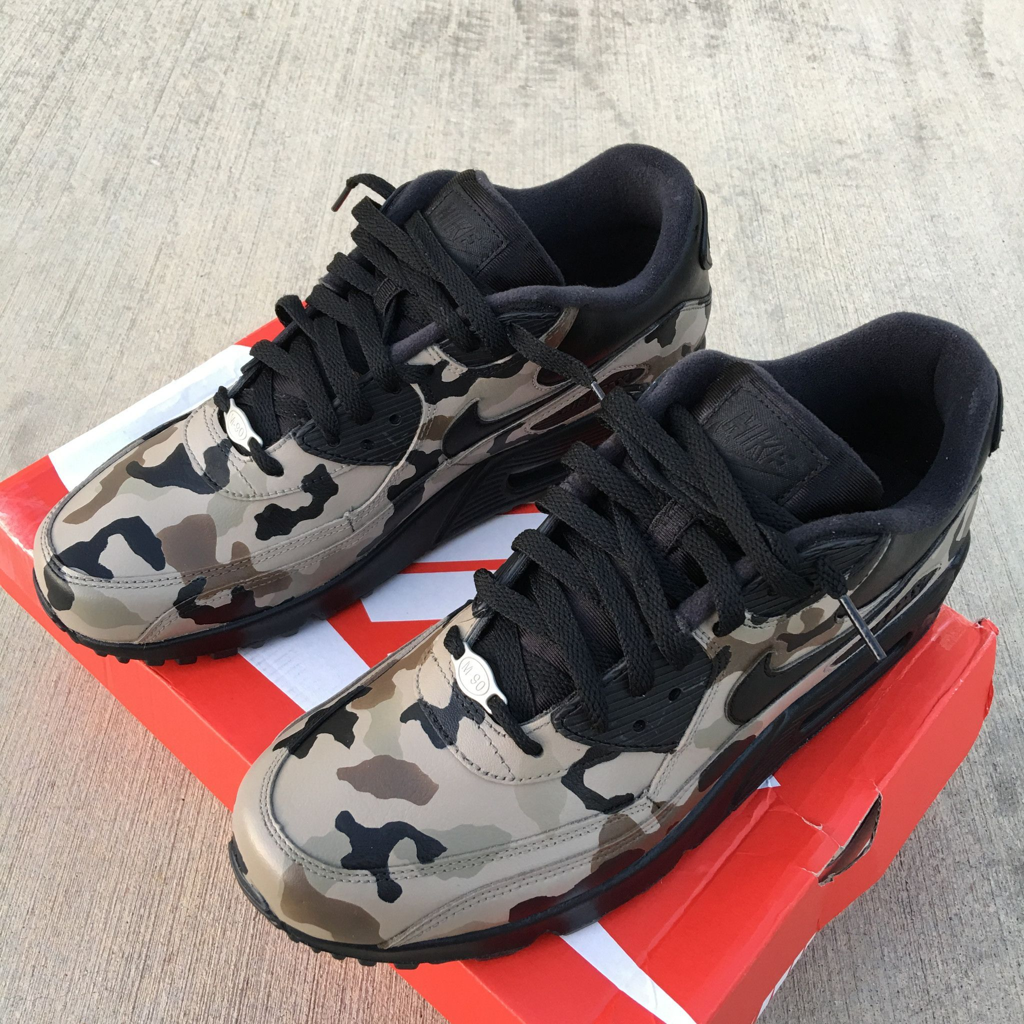 quality design 742a7 ff62a Custom Hand painted Nike AM90 Desert Camo Shoes. Each pair is hand painted  and coated with an acrylic clear coat. Paint is 100% permanent. Made in USA.