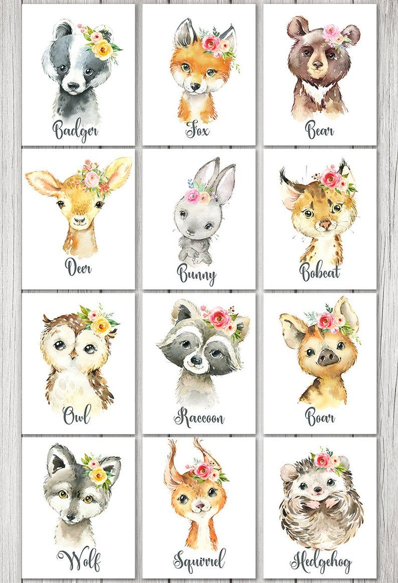 Woodland Animals GIRL Wall Art Decor, Badger Bear Fox Owl Raccoon Deer Bunny Bobcat Hedgehog Boar Wolf Squirrel, Digital Printable, Flowers