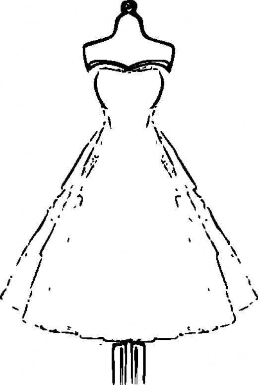 Beautiful Dress Coloring Pages And Pictures For Adults And Kids Clip Art Vintage Silhouette Clip Art Paper Dress