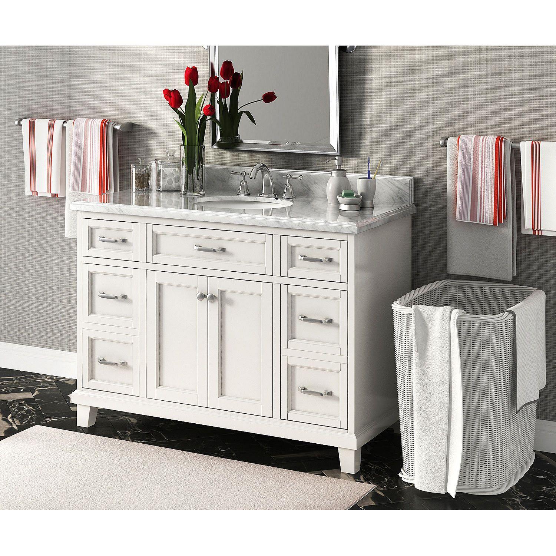 Carolina 48 single sink marbletop vanity with backsplash