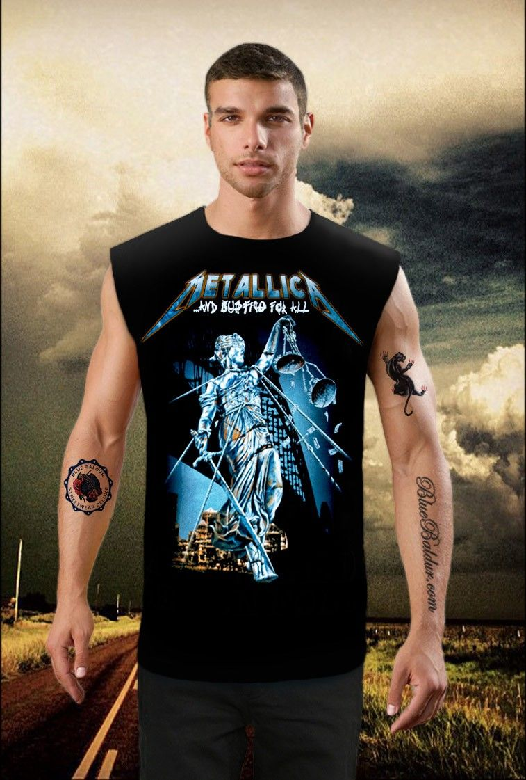 184323a6 AND JUSTICE FOR ALL - Metallica sleeveless T-shirt in black | Just ...