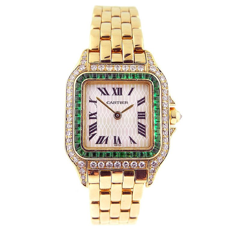 Cartier Ladie S Watch Gold Panthere With Mop Dial Diamonds