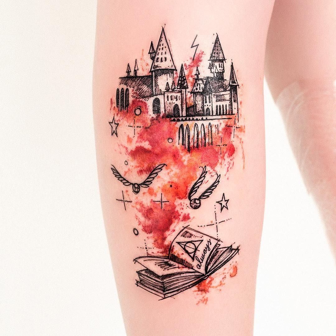 Water Color By Robson Carvalho Tatouage Tatouages Harry Potter