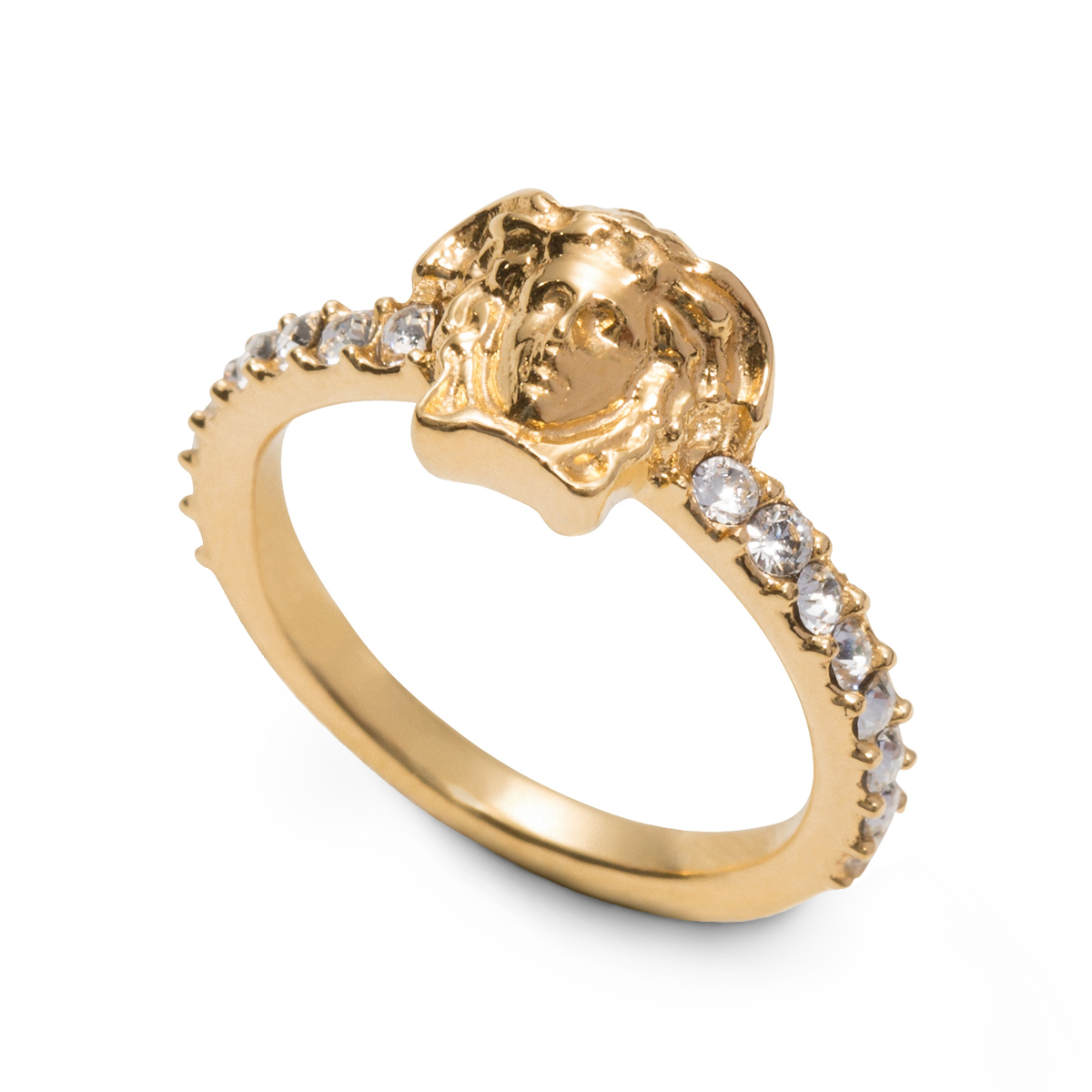 Luxurious treat medusa band ring with swarovski crystal details