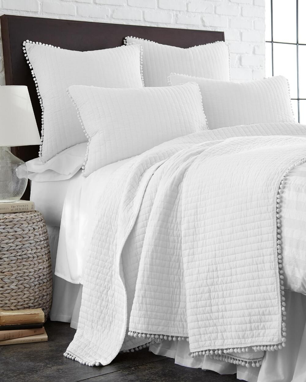 Exclusively Ours Pom Pom White Sham White Quilt Bedding Home
