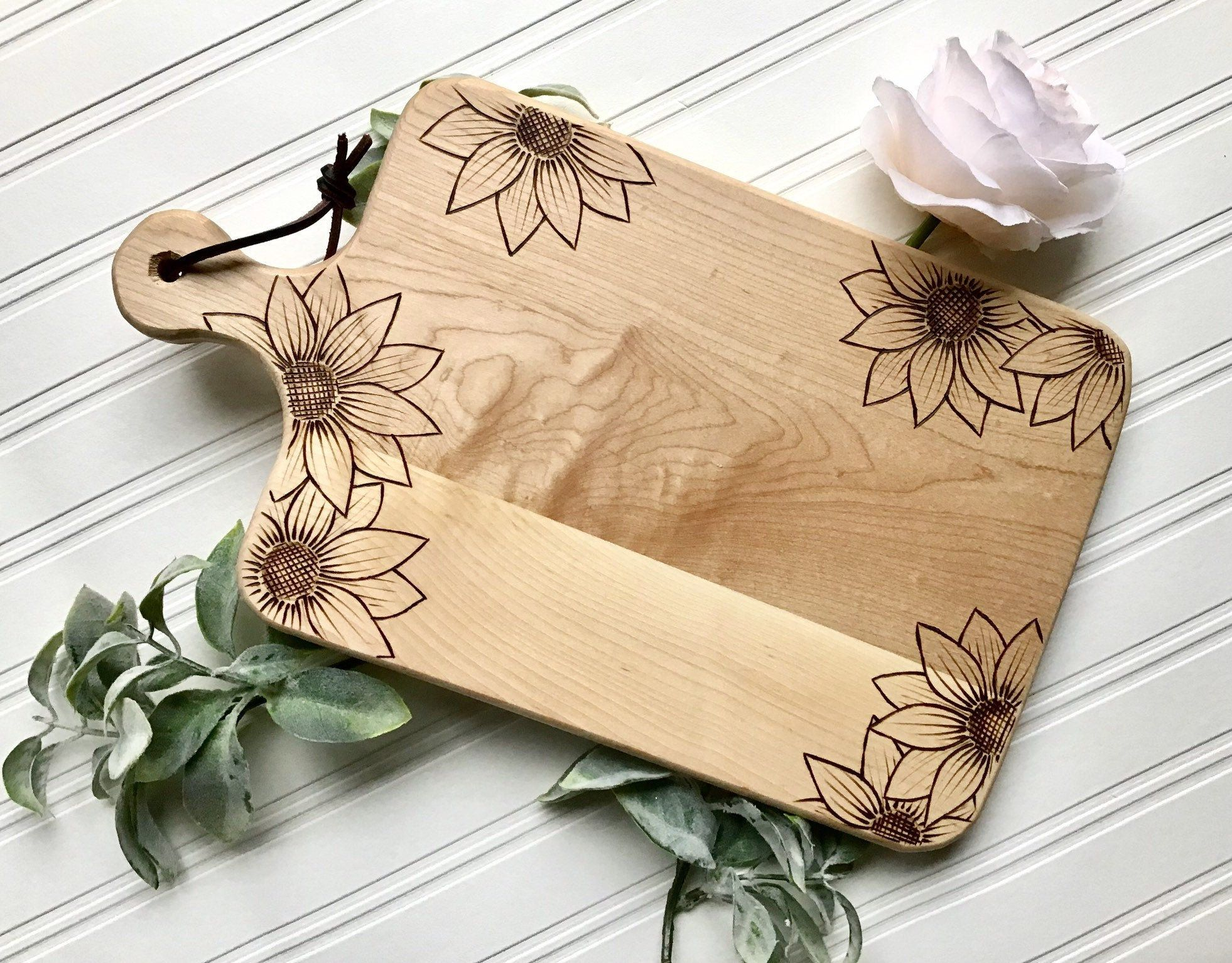 Wood Burned Maple Cheese Plate in Sunflowers