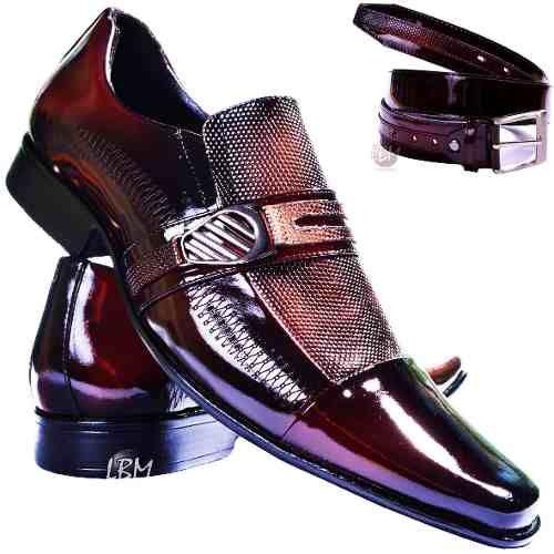 5954b2703b Sapato Social Masculino Cinto+carteira Brilhoso Envernizado - R$ 144,90 em Mercado  Livre