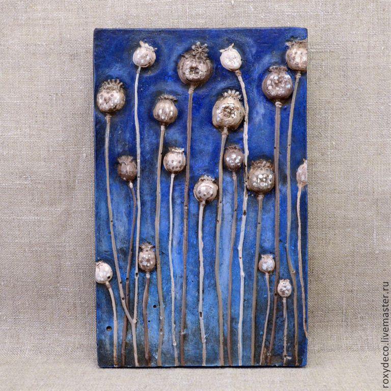 Купить Маки. Коробочки на синем. - тёмно-синий, стильный подарок, декор для интерьера, уютный дом