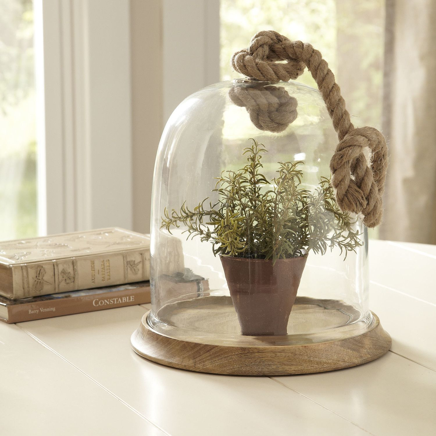 Nantucket Cloche with Rope | Showcase your favorite treasures in this stunning nautical-inspired piece, featuring a mango wood base and jute rope handle.