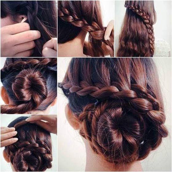 Braided Bun Hairstyle Thick Hair Styles Hair Styles Long Hair Styles