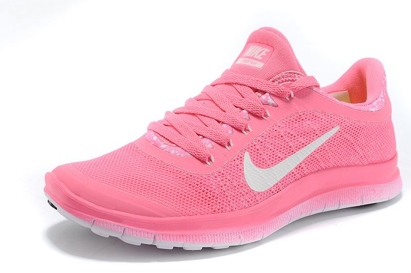 Femmes Nike Free 3.0 V6 Flyknit Rose Penser Paroles Rose + Blanc