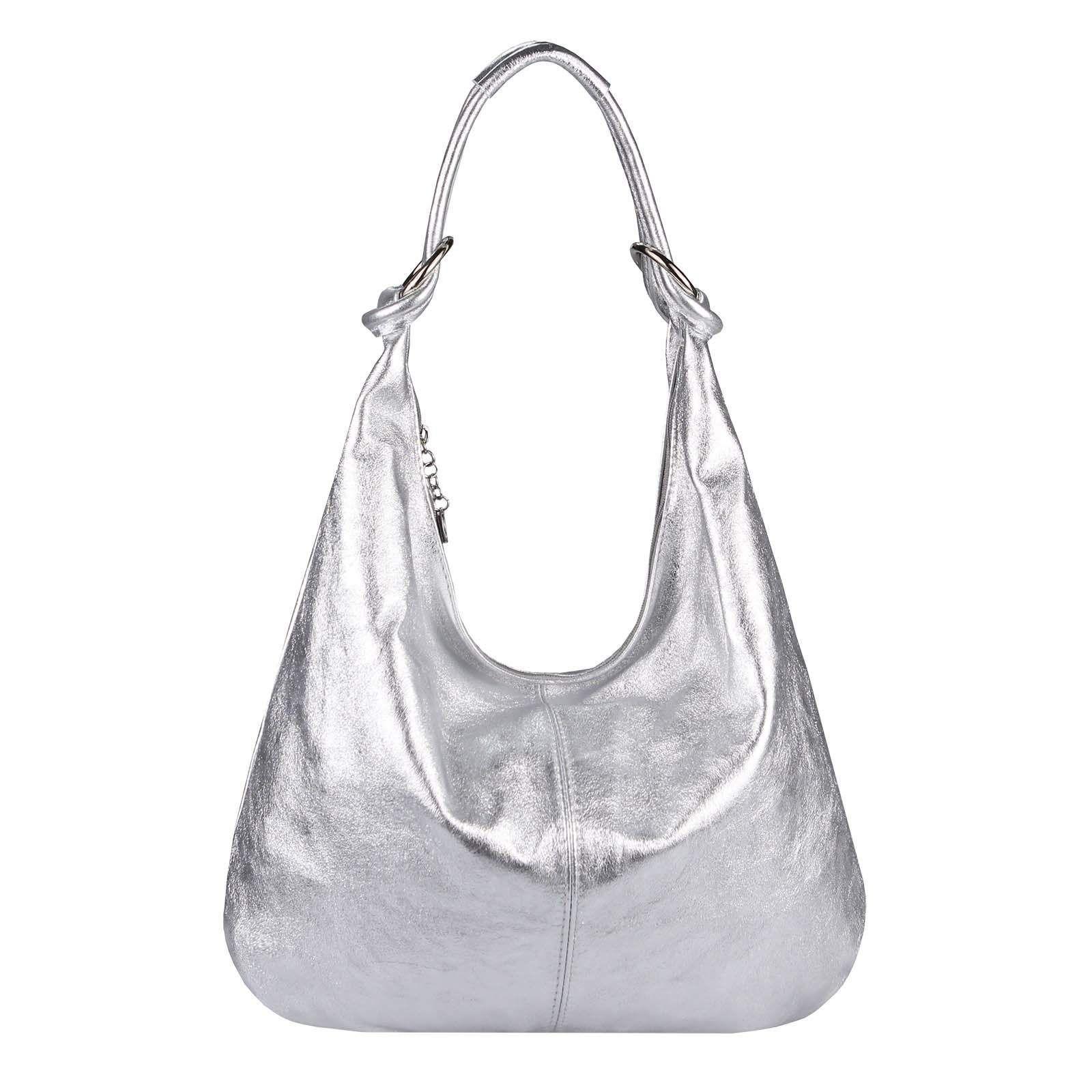 ffba9608cd470f ITALY DAMEN Echt LEDER TASCHE Schultertasche Handtasche Umhängetasche  Beuteltasche Metallic Bag Silber: Made in Italy Damen XXL Leder…