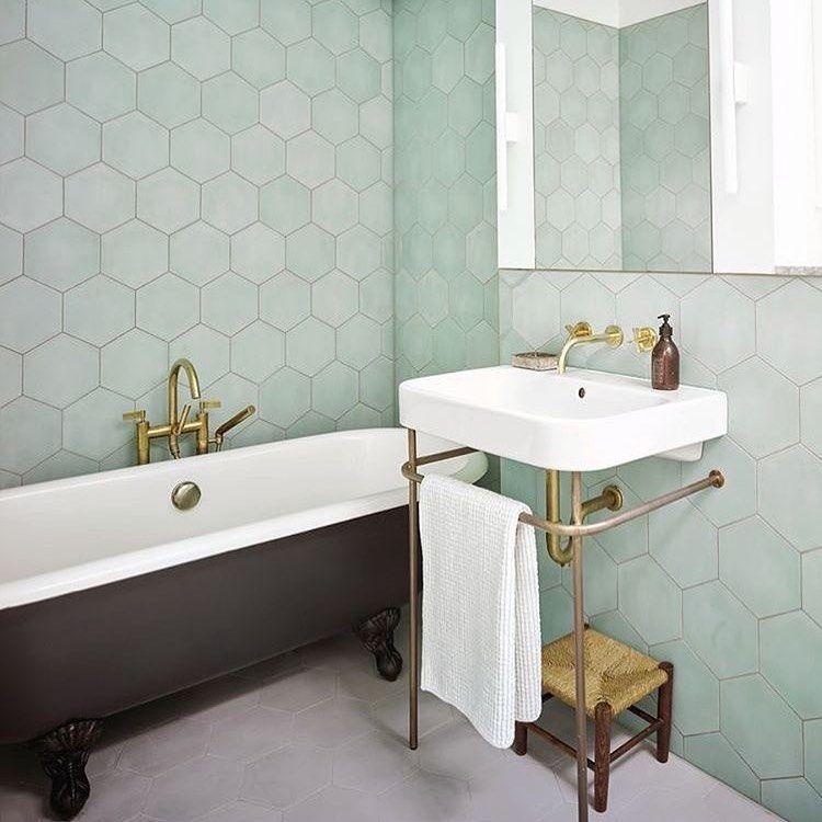 Bert May On Instagram Love The Fresh Feeling Of This Bathroom Our Hexagonal Tiles Are So Ve In 2020 Trendy Bathroom Tiles Bathroom Inspiration Green Tile Bathroom
