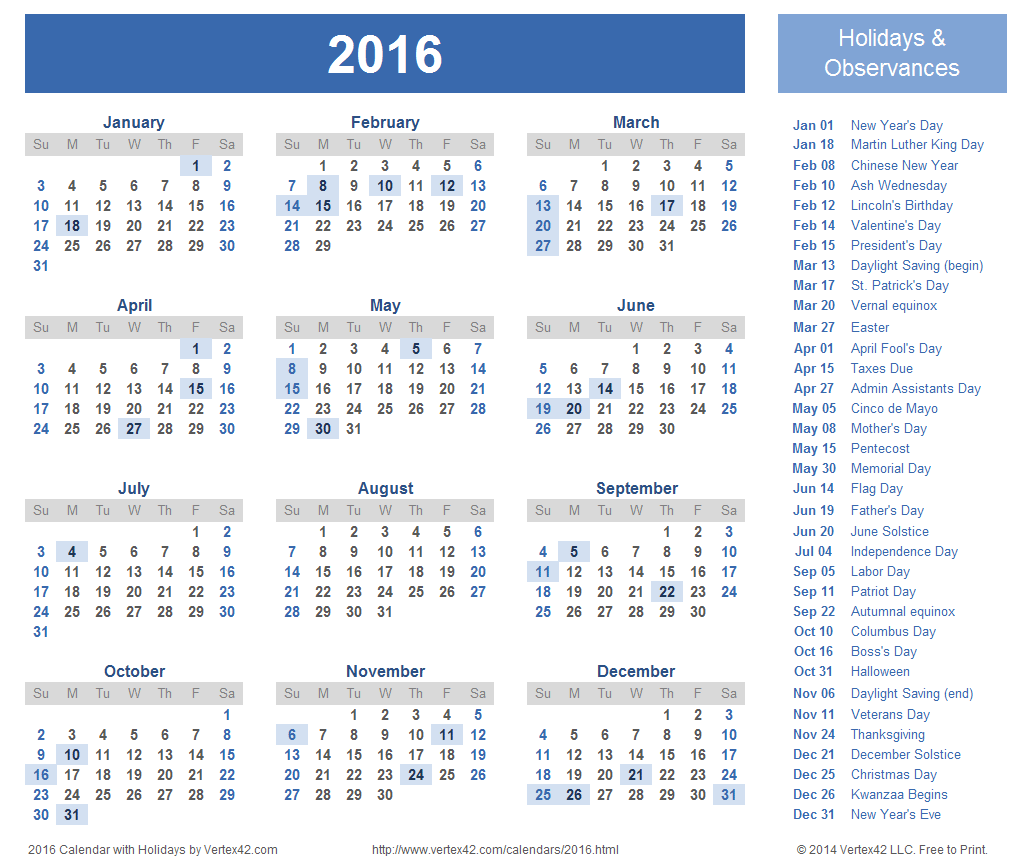 download a free printable 2016 holiday calendar from vertex42com - Holiday Pictures To Download