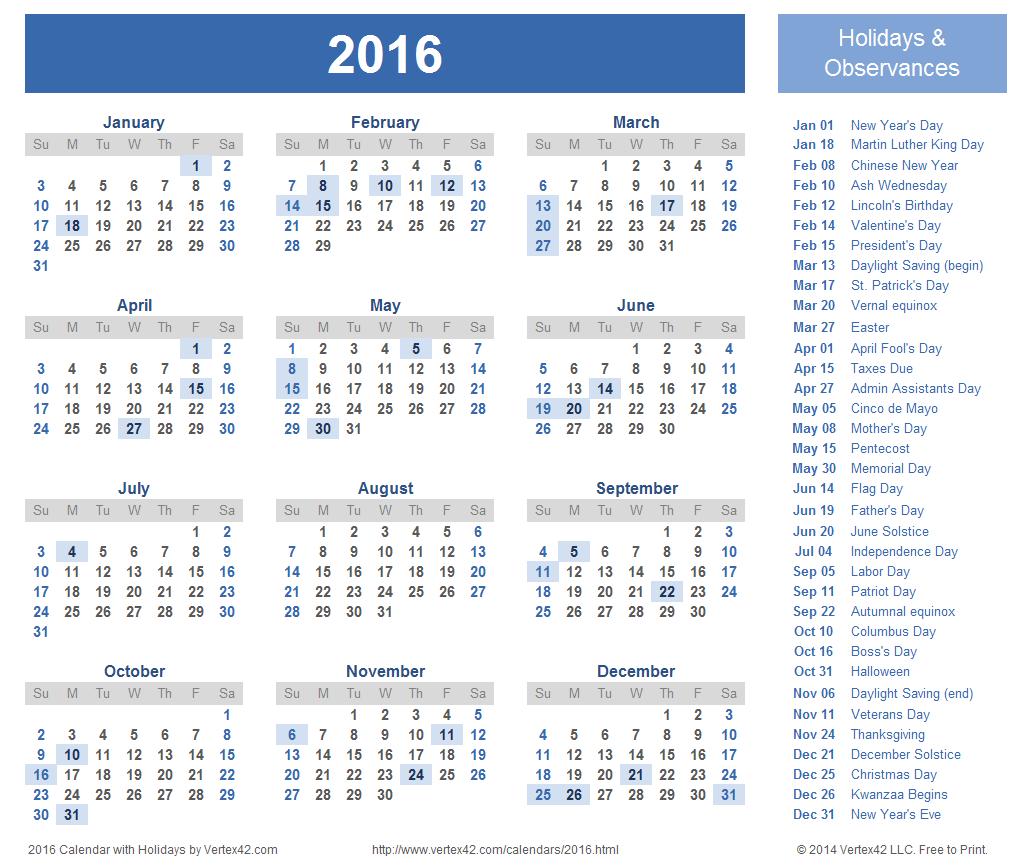 2016 Calendar Yearly Calendar Template Calendar Printables Free Calendar Template