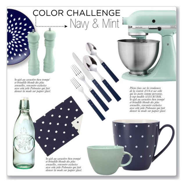 Navy Mint Kitchen Accessories By Kellylynne68 On Polyvore Featuring Interior Interiors Design Home Decor Decorating