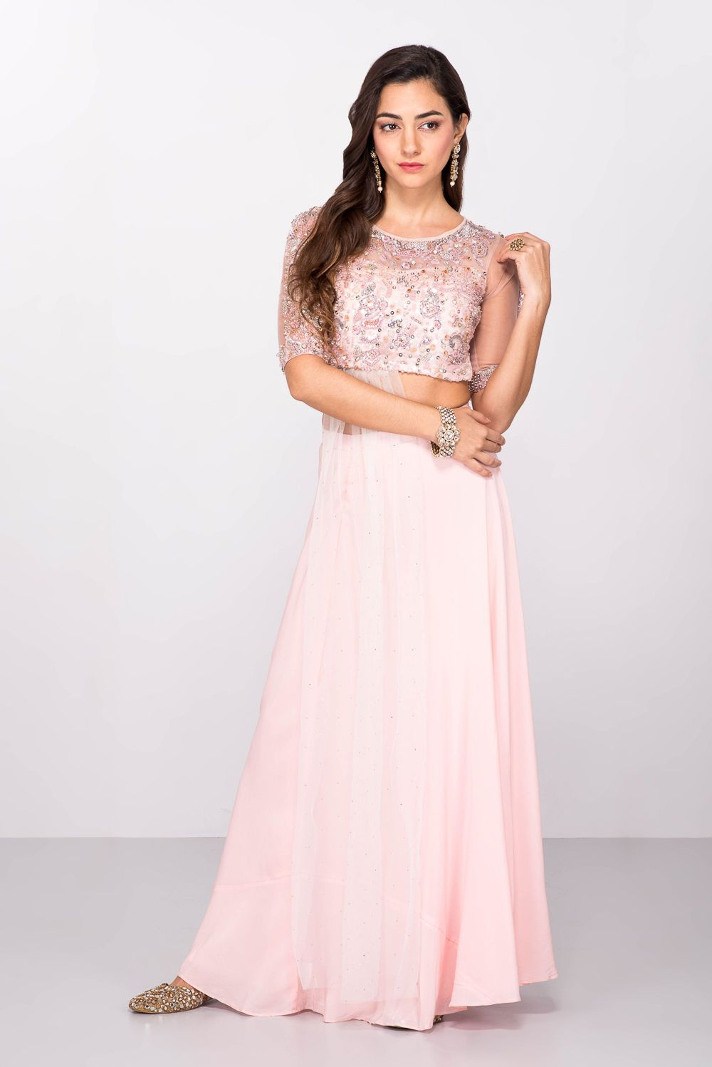2a11b02cf9f75 Rent ESHA COUTURE - Pink Embroidered Crop Top With Flared Skirt