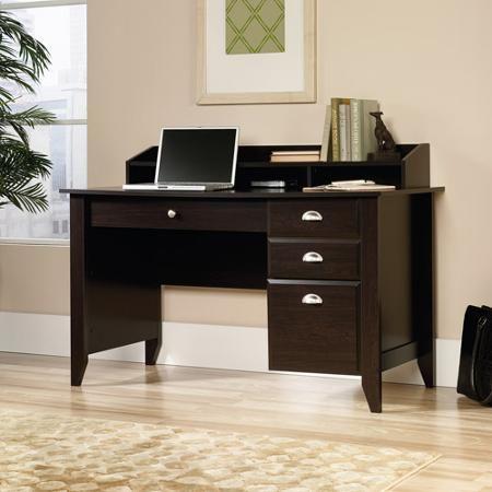 Sauder Shoal Creek Desk Jamocha Wood With Images Wood Computer Desk Home Office Design Home Office Furniture