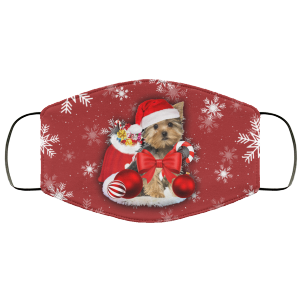 Yorkshire Terrier Christmas Face Mask In 2020 Yorkshire Terrier Terrier Face Mask