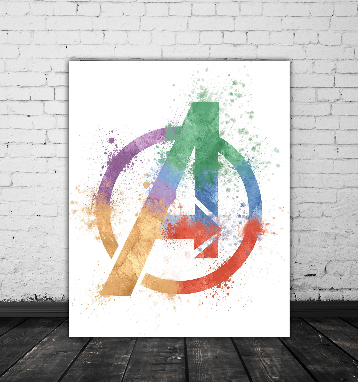5.00 Marvel Avengers Logo Watercolor, Marvel Comic Book