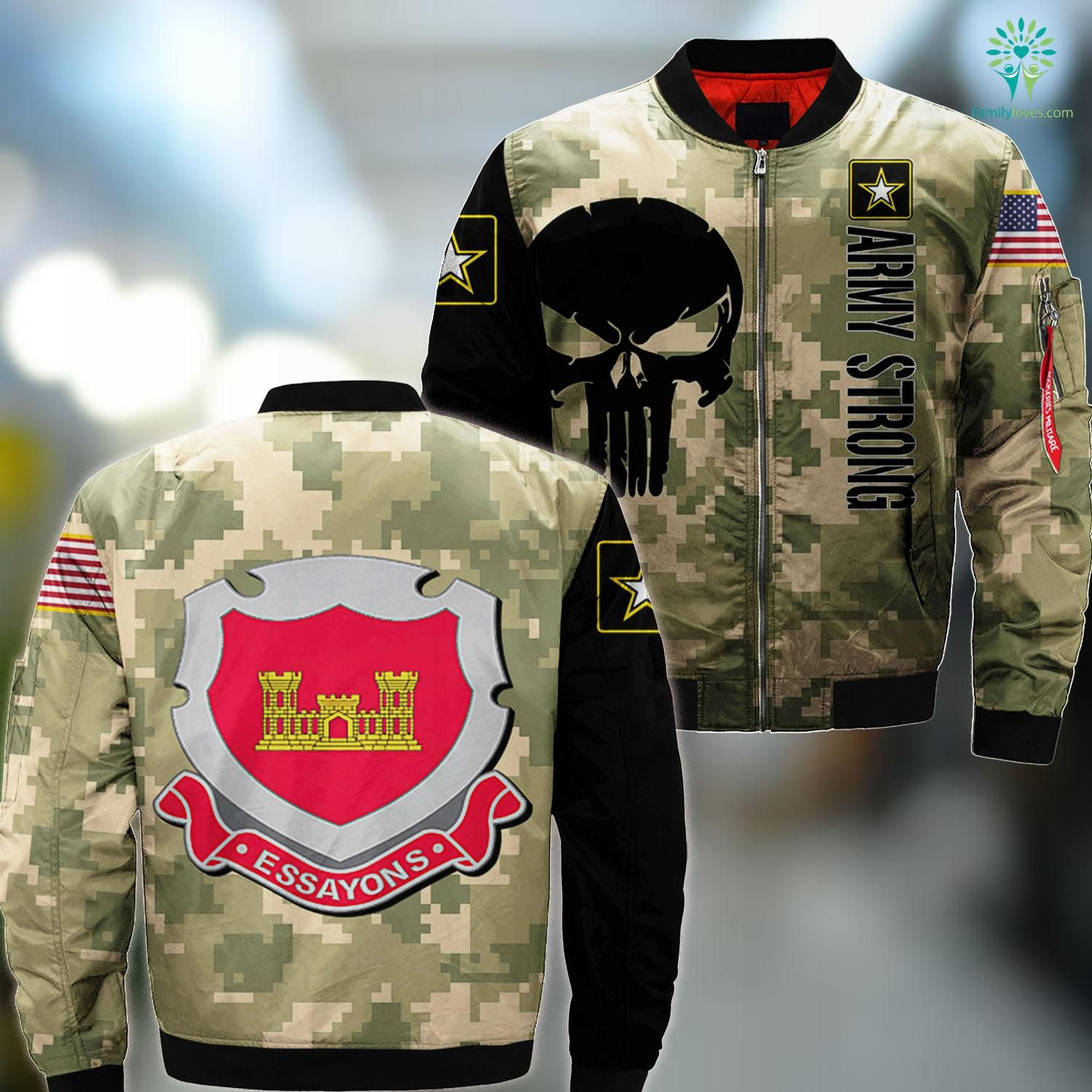 Us Army Badges Army Corps Of Engineers Usace Ma1 Bomber Jacket All Over Print Familyloves Com Us Army Clothing Army Bomber Jacket Army Shirts [ 1500 x 1500 Pixel ]