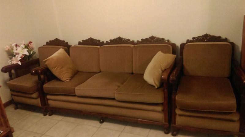 'Jacobean' lounge with gold velvet upholstery.