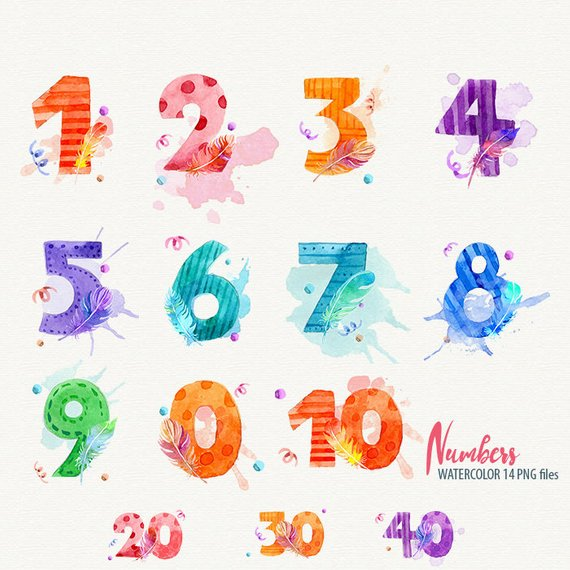 Watercolor Numbers Clipart Numbers Clip Art Digital Numbers