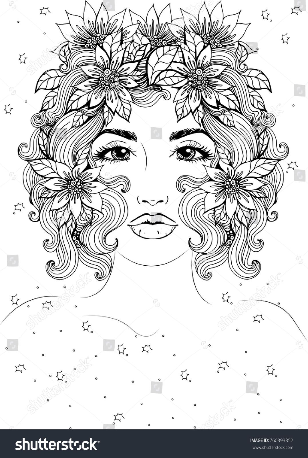 Vector Beautiful Girl With Short Hair And Flowers In Hair Fashionable Sketch Ideal For Coloring Designs Coloring Books Devian Art African Art Paintings