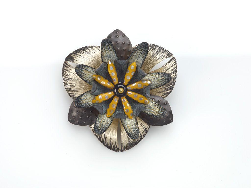 pin/pendant sterling, copper, brass, prismacolor pencil, glass beads www.DebKarash.com