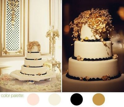 black white and gold wedding cake photos by SF bay area