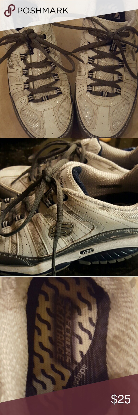 Sketcher Shape Up shoes Great condition worn a few times indoors. White and silver with a touch of Shimmer Sketches Shape Up Shoes Shoes Athletic Shoes