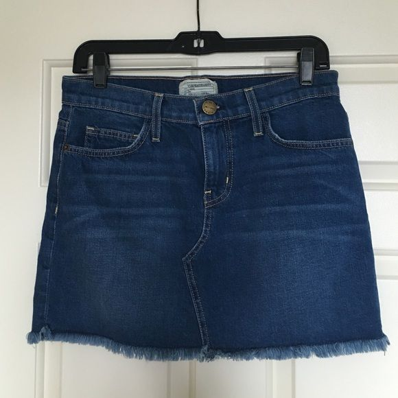 """Current/Elliott denim mini skirt size 26 New, washed once but never worn mini skirt with frayed hem. Runs big for a 26 like this brand does, waistband 15.75"""", 13"""" length front, back length is 14"""", hip 17.5"""" From smoke-free home. Current/Elliott Skirts Mini"""