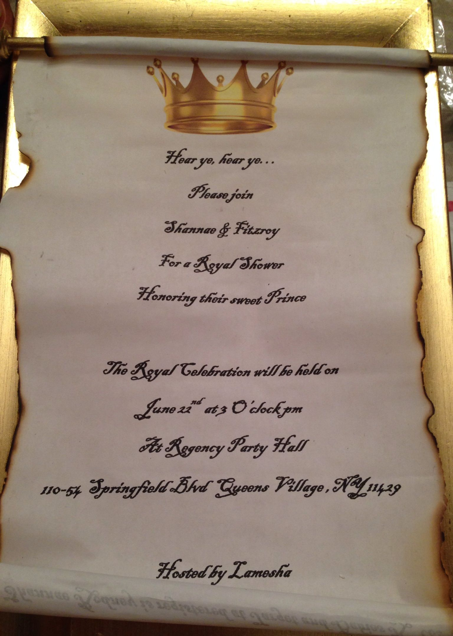 Royal baby shower scroll gold and blue invitations | Nae\'s Royale ...