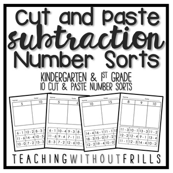 Pin On Products Cut and paste subtraction worksheets