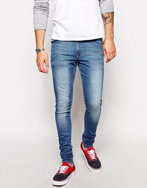 extreme super skinny jeans in light wash brown brogues. Black Bedroom Furniture Sets. Home Design Ideas