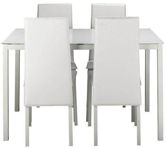 Buy Argos Home Lido Glass Dining Table 4 White Chairs Dining