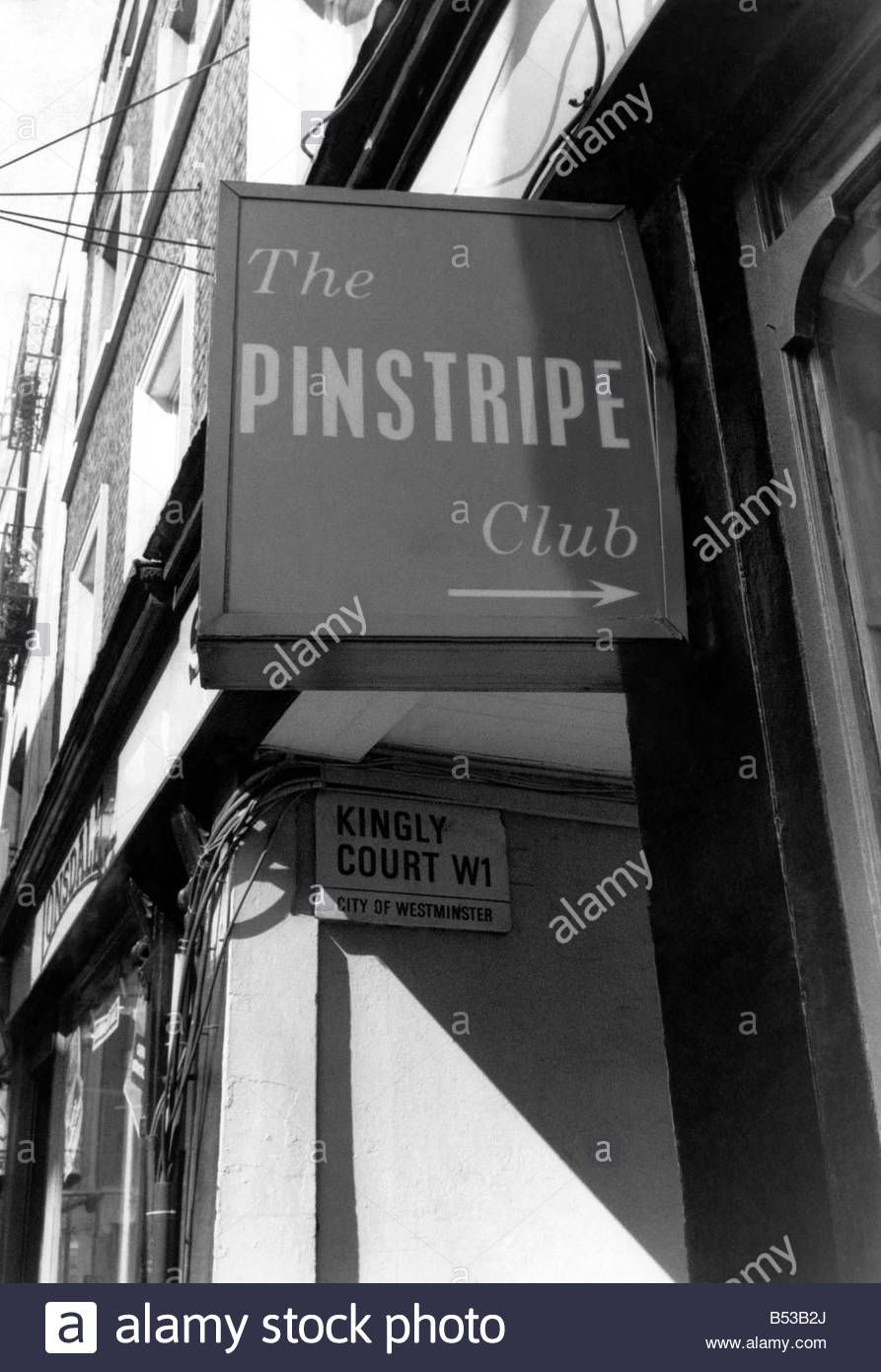 The Pinstripe Club in Kingly Court, haunt of the rich and famous in London  of the 1960s, and where John Profumo first met Christine Keeler.