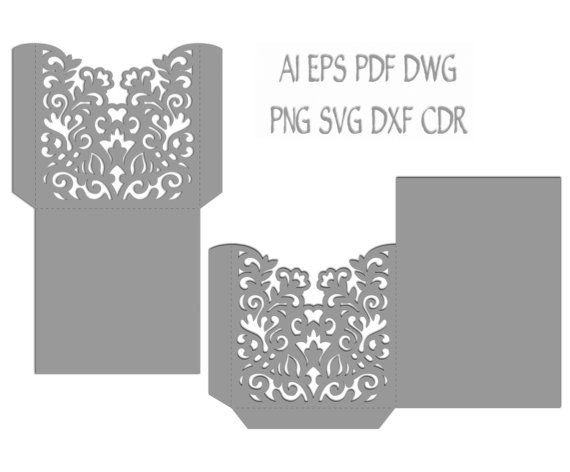 Wedding Invitation Pocket Envelope X  X Svg Template Cutting